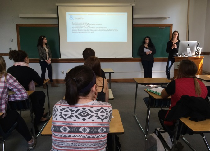 Elicia G., Rachael P. & Carly G. present their final pitch for Burt's Bees