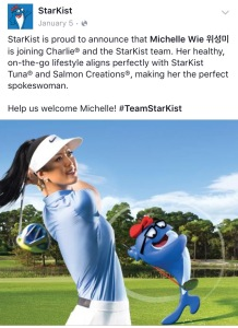 Starkist introduces Michelle Wie as a spokesperson through social media posts