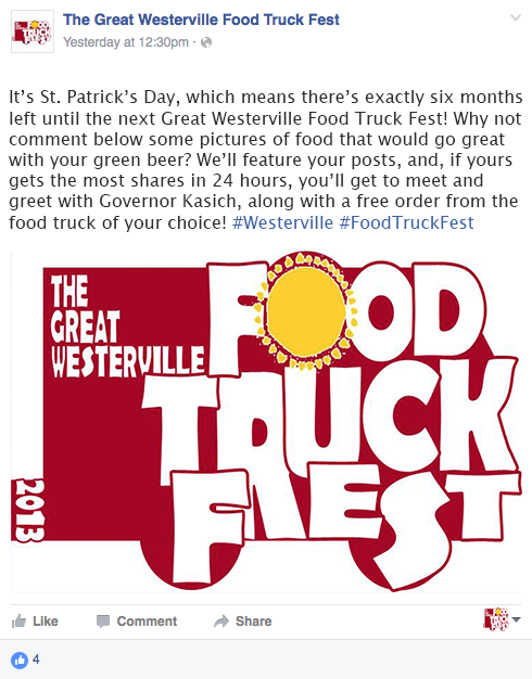 Original mock-up for the first post on the Facebook promoting the Westerville Food Truck Fest- St. Patrick's Day Campaign